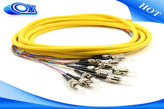 China ST / UPC Jacketed 12 CORE Optical Fiber Pigtail , Fan Out Fiber Optic Cable 3 Met supplier