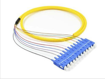 China Yello Color Optic Fiber Patch Cable Patch Cords SC 12 Cores Bundle Pigtail supplier