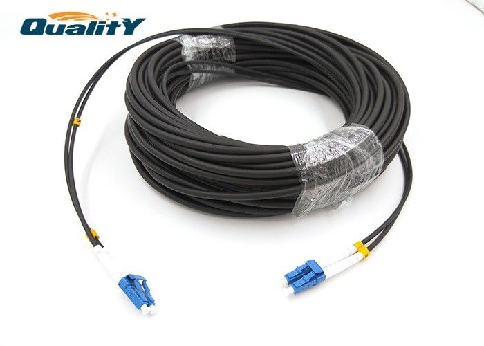 Outdoor Armored Fiber Optic Cable / 100-150M LC / UPC For Military Tactical / Fiber Optic Patch Cable