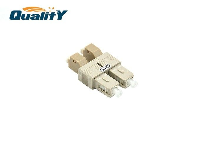 Gray Color Duplex Fiber Optic Adapter LC Female To SC Male Hybrid Flange