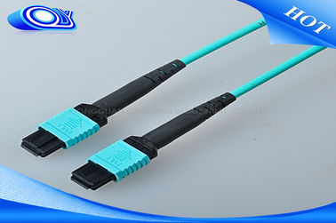 China Aqua 50/125 OM3 MM PVC Fiber Optic Cable With MTP / MPO Fiber Connector factory